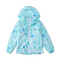 Hiheart Girls Lightweight Zip-Up Hooded Windbreaker Jacket Blue Butterfly 9-10