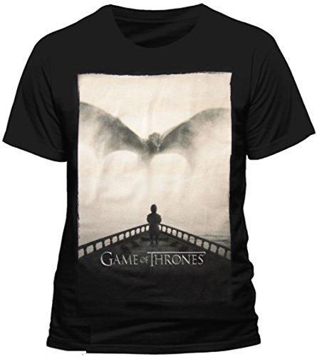 Juego de Tronos - Tyrion Lannister Dragon Silhouette - Camiseta Oficial Hombre - Negro, Small