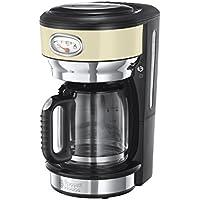 Russell Hobbs Retro Vintage 21702-56 Glas-Kaffeemaschine (1000 Watt, 1,25 Liter, mit stylischer Brüh- und Warmhalteanzeige, Brausekopftechnologie) creme
