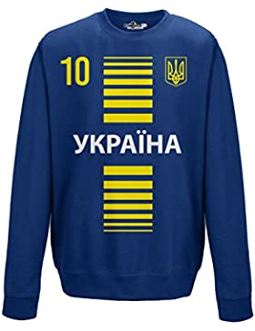 Felpa Girocollo Uomo Nazionale Sportiva Ukraine Ucraina 10 Calcio Sport Europa Tridente 2 L