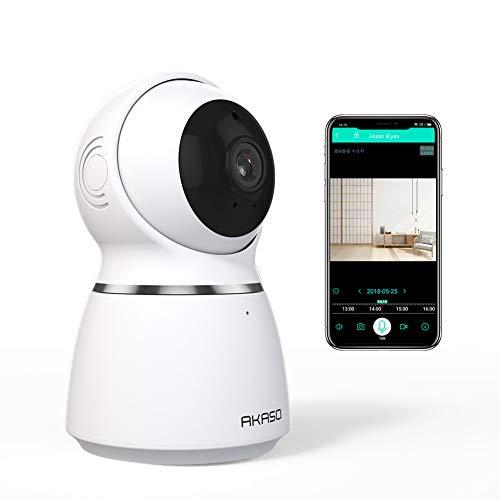 AKASO Cámara de Vigilancia Interior WiFi 1080P 360° 3D Auto-Seguimiento IP Cámara de Seguridad Inalámbrica Doméstica para Niños Perros Detección de Movimiento Audio Bidireccional Control Remoto (P50)