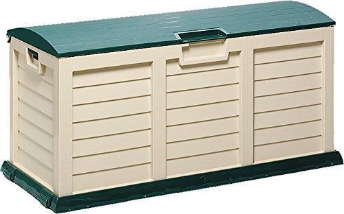 Unbekannt Kissenbox Jumbo XXL, Aufbewahrungsbox für Gartenstuhlauflagen, grün/beige, Freizeitbox eckig aus Kunststoff, für Innen und Außen