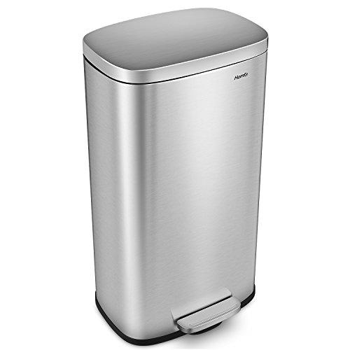 HOMFA Abfalleimer Mülleimer Treteimer mit Absenkautomatik 30L Edelstahl für Küche gebürstet