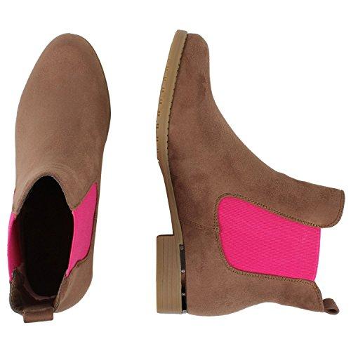 Japado , bottes chelsea femme - Brun / rose