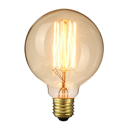 Elfeland ® Edison Glühbirne / E27 60W Big-Globe Industrial Vintage Stil Dekorative Glühbirne/für Hängelampe Wandleuchte Pendelleuchte/Spiral Filament/Modell G95 / 1 Stück