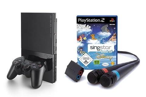 PlayStation 2 - PS2 Konsole, black inkl. SingStar Best of Disney + Mikrofone
