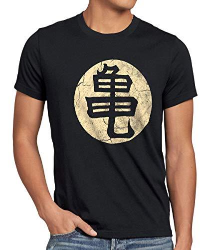 style3 Goku Roshis Turtle School Herren T-Shirt Anime Manga Dojo Kame Roshi House Meister Training, Größe:XXXL, Farbe:Schwarz