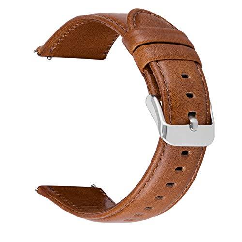 MroTech Lederarmband 20mm Armband kompatibel für Vívoactive 3 Vívomove HR Echtes Leder Uhrenarmband Ersatz kompatibel für Smasung Galaxy Watch 42mm, Gear S2 Classic Huawei Watch 2,TicWatch E ()