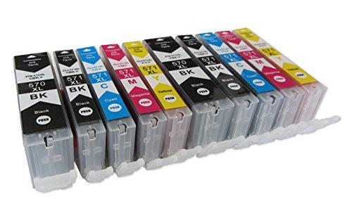 Preisvergleich Produktbild 10 komp. XL Druckerpatronen für Canon TS 5050 5051 5053 5055 6050 6051 6052 8050 8051 8052 8053 9050 9055 2 x schwarz 2 x photoschwarz 2 x blau 2 x rot 2 x gelb
