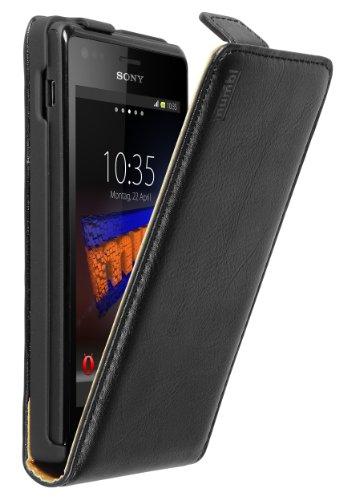 mumbi Echt Leder Flip Case kompatibel mit Sony Xperia M Hülle Leder Tasche Case Wallet, schwarz -