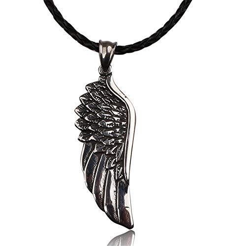 JMZDAW Halskette Anhänger Punk Herren Gothic Angel Wing Anhänger Mit Halskette Black Metal Der Halskette Männer Geschenk Party Halsband Halskette Zubehör (Black Angel Halskette Für Männer)