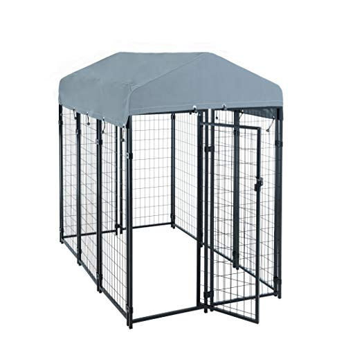 ESTEXO Hundezwinger Hundekäfig Metall Massiv Zaun 185x117x185 cm Elemente Zwinger Hund mit Dach