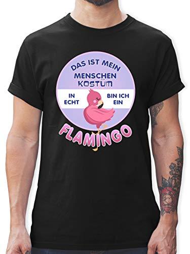 Mensch Vogel Kostüm - Karneval & Fasching - Das ist Mein Menschen Kostüm in echt Bin ich EIN Flamingo - 3XL - Schwarz - L190 - Herren T-Shirt und Männer Tshirt