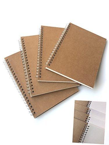 VEEPPO 4Stück Themen A5/B52mm Spot/2mm Kariert/5Spot/5Kariert Kraft Karton Cover Spirale Notebook A5-4 Subjects- 5.27 x 7.48inch. Weiß