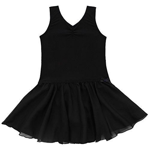 iEFiEL Mädchen Ballett-Kleid Ballettanzug Trikot mit Röckchen Gymnastikanzug mit Innenslip 92-164 Schwarz (Tanzbekleidung Kinder)