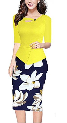 Minetom Femme été Élégante Bodycon Stretch Slim Floral Au genou Bureau Affaires Crayon Peplum Cocktail Robe Longueur du Genou Jaune02