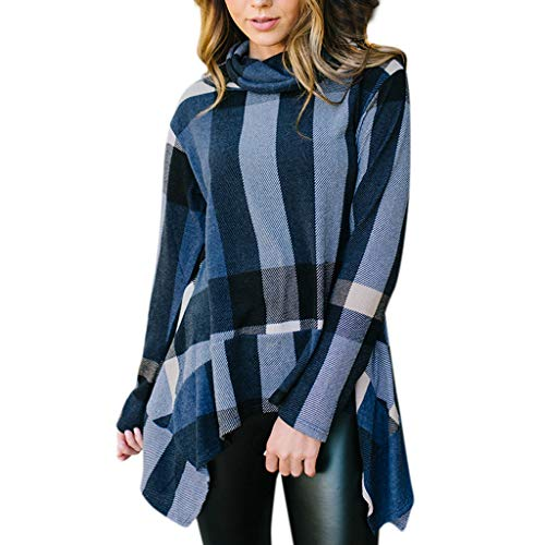 MEIbax Damen Oansatz Bluse Plaid Langarm Pullover Unregelmäßige Shirt Oberteile Pullover Sweatshirt - Trenchcoat Plaid