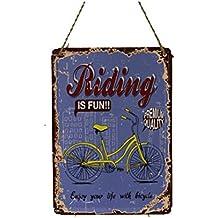 Cuadro metálico rectangular (placa con cuerda) motivos de bicicletas (Modelo a)