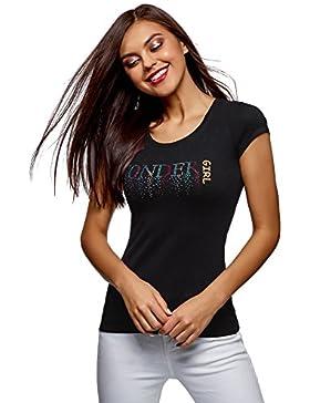 oodji Ultra Mujer Camiseta con pedrería y Escote Gota EN La Espalda