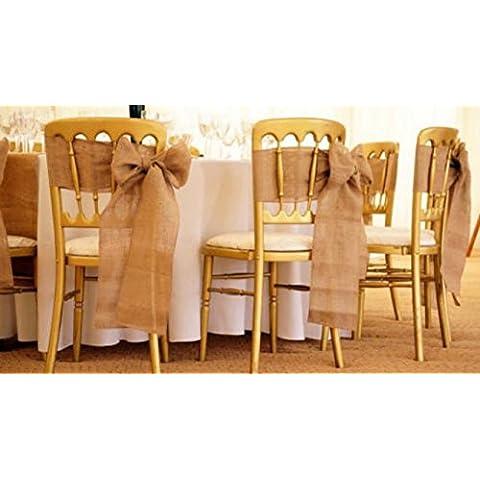 PsmGoods® Vintage tela da sedia del telaio juta Hessian Per Festival Wedding Event decorazione della sedia 15 cm * 240 centimetri 10 pack