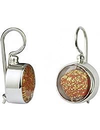 """Gabriella Nanni, Earrings in 925 silver with Murano glass - """"Vetro Sommerso - Orecchini Tondo Piccolo a Monachella"""""""