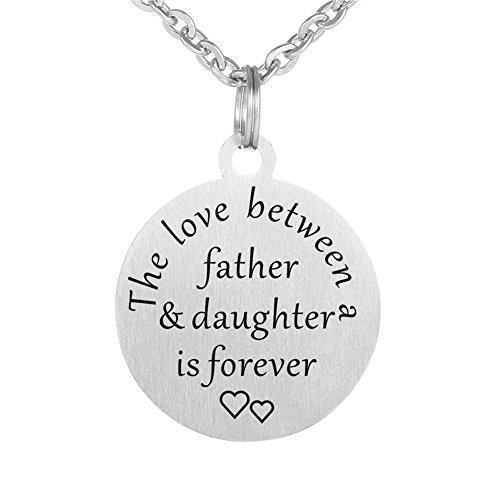 lisierte Vater und Tochter Edelstahl Sentimental Name angepasst Engravable Runde Tag Keychain Anhänger Halskette für Papa von Tochter für Väter Day Geschenk ()