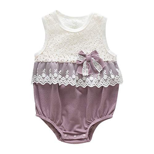 squarex Neugeborenen Baby Mädchen Body Spitze Overall Bowknot Romper Ärmellose Spielanzug Kinder Kletteranzug Outfits Sommer