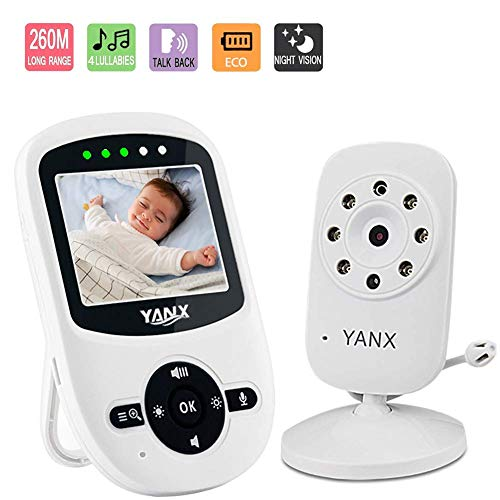 Babyphone mit Kamera, 2.4 GHz Wireless Baby monitor HD Digital Video Babykamera mit Temperaturüberwachung,Nachtsicht,Schlaflieder,Gegensprechfunktion, ECO-Modus,900ft Übertragungsreichweite
