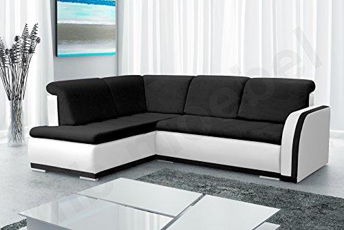 Ecksofa Sofa Eckcouch Couch mit Schlaffunktion und Bettkasten Ottomane L-Form Schlafsofa Bettsofa Polstergarnitur - VERO II (Ecksofa Links, Schwarz +...