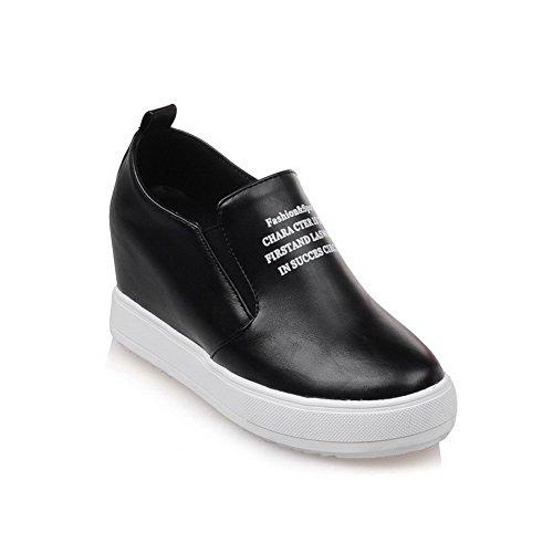 AgooLar Damen Gemischte Farbe Hoher Absatz Ziehen Auf Rund Zehe Pumps Schuhe Schwarz