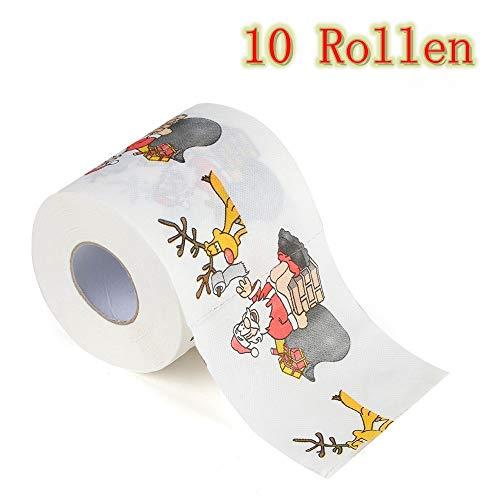 Zhen+ 2 | 10 | 20 | 40 Rollen 3-lagig Toilettenpapier, Motiv Weihnachten Klopapier bedrucktes Papierhandtücher Papier Toilettenpapier 170 Blatt je Rolle