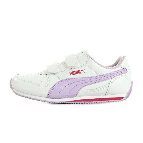 Puma Fieldsprint, Baskets Basses mixte enfant Blanc, rose foncé et parme