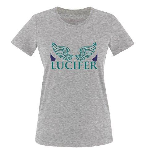 Comedy Shirts - LUCIFER - LOGO 1 - Damen T-Shirt - Graumeliert / Türkis-Lila Gr. XXL