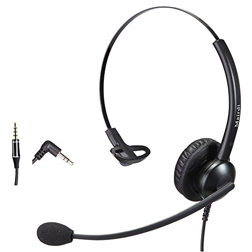MAIRDI 2,5mm Telefon Headset Kopfhörer 2 5 mm Klinke Call Center Headset mit Noise Cancelling Mikrofon für Cisco Polycom Grandstream Panasonic Plus 3,5mm Klinke für Handy iPhone Samsung (Call Center Telefon Headset)