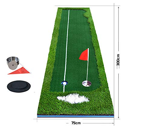 HJJGRASS PGM Indoor-Golf-Putting-Trainer 3M tragbarer Golf-Übungs-Putting-Mat-Putter-Green-Trainer,FOURCOLOR,75CM
