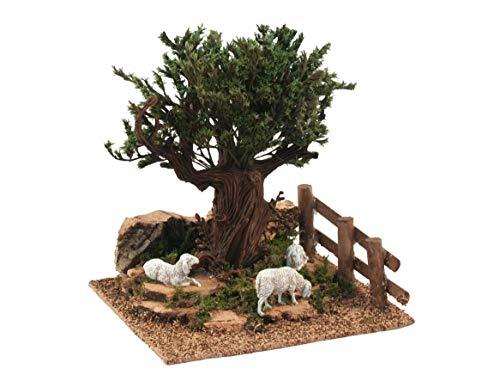 Bertoni albero sulla collina con pecore, legno, multicolore, taglia unica