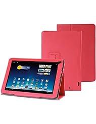 Supremery - Medion Lifetab E10320 E10316 E10315 Cuir Sac Boîte Étui en cuir Manteau Couverture Enveloppe de protection en rouge avec fonction de rester debout