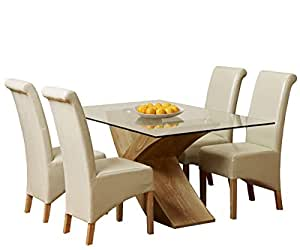 1home glass top oak cross base dining table set w 4 6 leather chairs room furniture 160cm. Black Bedroom Furniture Sets. Home Design Ideas