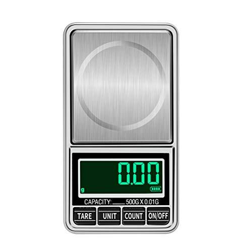 BESTONZON hochpräzise elektronische Waage Mini Digitale taschenwaagen Gewicht messwerkzeug für schmuck rohmedizin täglicher Gebrauch (500g / 0,01g + USB-Kabel)