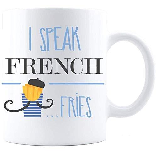 I Speak French Fries Coffee Mug - White French Fries Mug, French Mug, Fries Mug, France Mug By iLifestyle Hut, 11oz Ceramic Coffee Mug/Cup/Drinkware, High Gloss White French Hut