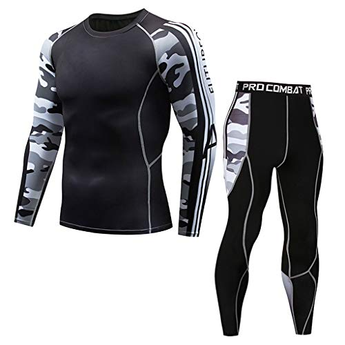 POachers Homme Casual Fitness T-Shirt Séchage Rapide Tops Élastiques Pantalons Sports Tight Suit Fitness Sueur Respirant Sports Serré Costume-Bicyclette Vêtements de Sport