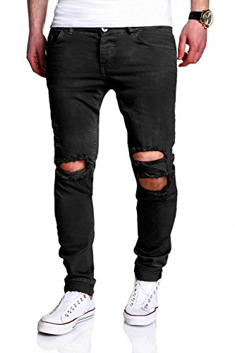 MT Styles Destroyed Jeans Slim Fit Jeans RJ-2021 [Schwarz, W32/L32]