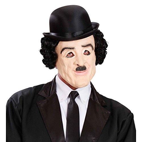 Charlie Chaplin Maske mit Haaren Filmstar Latexmaske mit Perücke 20er Jahre Vollmaske Komiker Kopfmaske Star Karnevalsmaske Charly Faschingsmaske Kostüm (Kostüme Komiker)