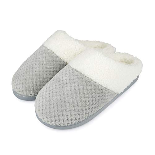 Habigail Womens Ladies Memory Foam Plush Lined Waffle Mule Slippers with Non Slip Sole