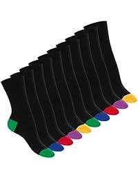 Footstar 10 Paar Baumwoll-Socken - Abgesetzte Ferse und Spitze für Damen und Herren