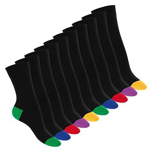 Footstar 10 Paar Baumwoll-Socken - abgesetzte Ferse und Spitze 35-38