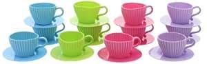 Tea Cupcakes Ensemble de moules en silicone en forme de tasse avec soucoupe 24 pièces