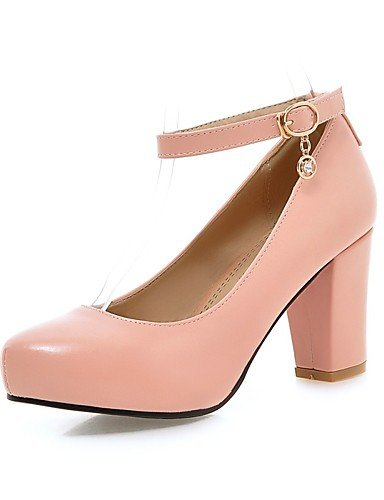 WSS 2016 Chaussures pu talons talon chunky / confort talons bureau des femmes&carrière / casual noir / rose / violet / blanc purple-us8 / eu39 / uk6 / cn39