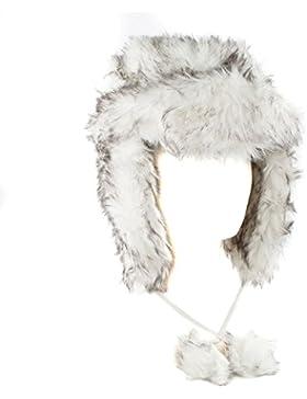 Sombrero de trampero de estilo ruso blanco/gris de piel de imitación (blanco/gris, talla única)