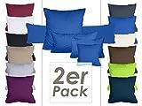 Doppelpack Kissenbezüge aus sanforisiertem Baumwoll-Jersey zum Sparpreis - in dezentem Design - 12 dekorativen Farben und 5 Größen, 40 x 40 cm, royal